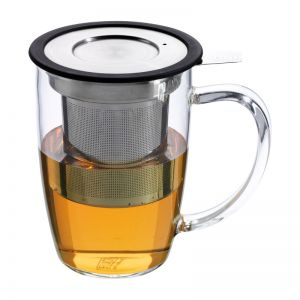 Forlife Glass Tea Mug with Infuser- Black